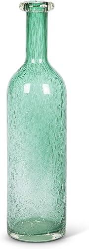 Lone Elm Studios 18.25 H Turquoise Glass Vase Home Decor, 4.75InL x 4.75InW x 18.25InH