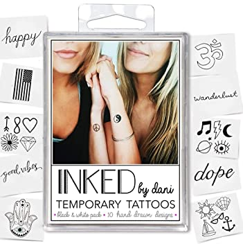 75daa1f1e9673 Amazon.com : Inked by Dani Temporary Tattoos, The Black and White Pack :  Beauty