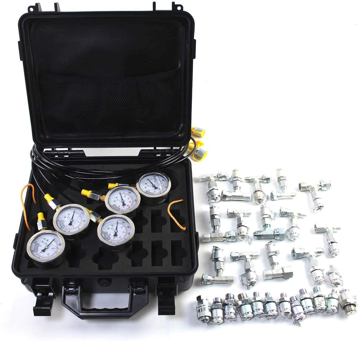 5 Test Hoses and 13 Couplings and 14 Tee Connectors Hydraulic Pressure Tester Used for Excavators etc; 2 Years Warrantyrts PANGOLIN Hydraulic Pressure Test Kit with 5 Gauges 3 Month Warranty