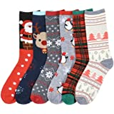 I&S 6 Pairs Crew Socks, Printed Fun Colorful Festive, Crew Knee Cozy Socks Women Fancy Christmas Holiday Design Soft