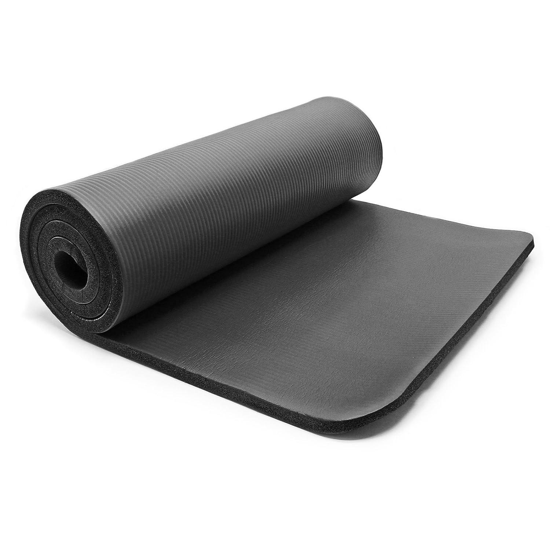 Esterilla yoga negro 180x60x1.5cm colchoneta suelo gimnasia ...