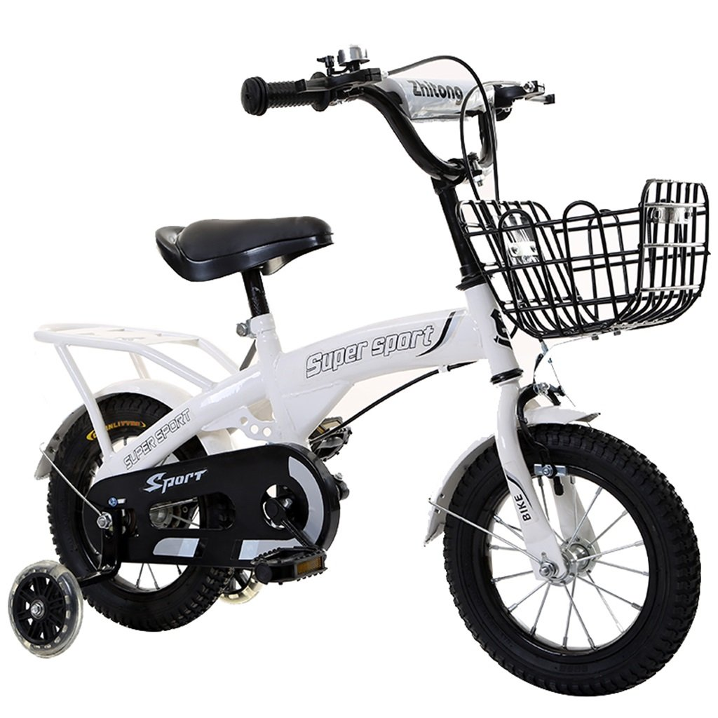 KANGR-子ども用自転車 子供用自転車アウトドアマウンテンバイク2-3-6-8ボーイズとガールズ子供用おもちゃ調節可能ハンドルバー/フラッシュトレーニングホイールとシート付きサドル-12 / 14/16/18インチ ( 色 : 白 , サイズ さいず : 14 inch ) B07BTZPDY4 14 inch|白 白 14 inch