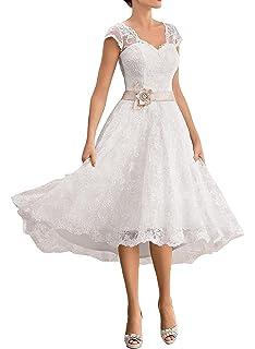 YASIOU Elegant Damen Kurz A Linie Wei/ß Spitze Vintage Vorne Kurz Hinten Lang Herzausschnitt zum Schn/üren Hochzeitskleid Brautkleid
