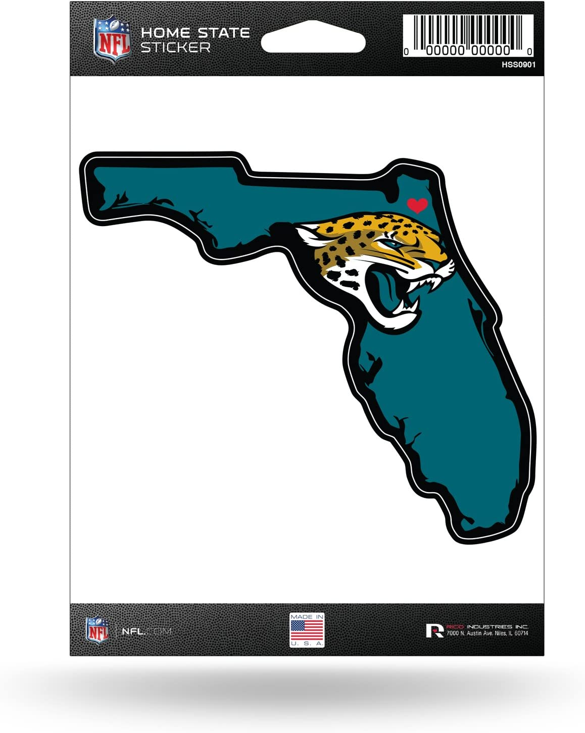 NFL Rico Industries Home State Sticker, Jacksonville Jaguars