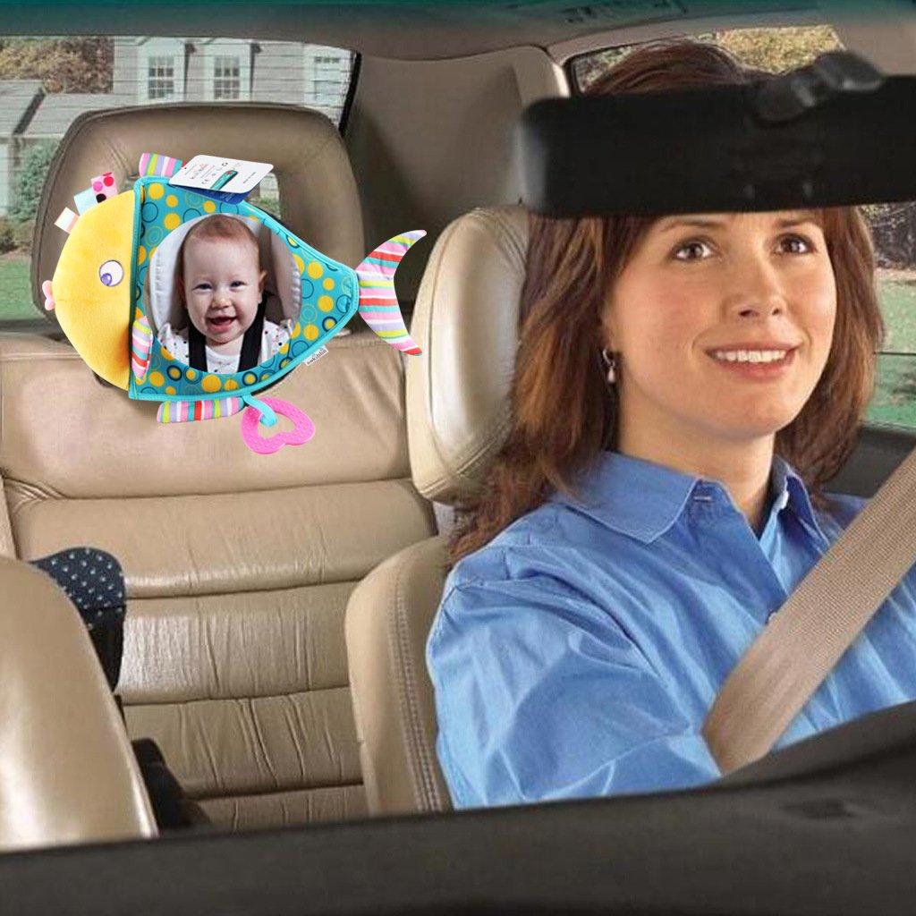 Baby in Sicht Kleinkinder Crash getestet /& Sicherheit Zertifiziert sch/önes Cartoon-Muster R/ücksitzspiegel f/ür R/ücksitz weites konvexes Glas vollst/ändig montiert finefun Baby Spiegel f/ür Auto