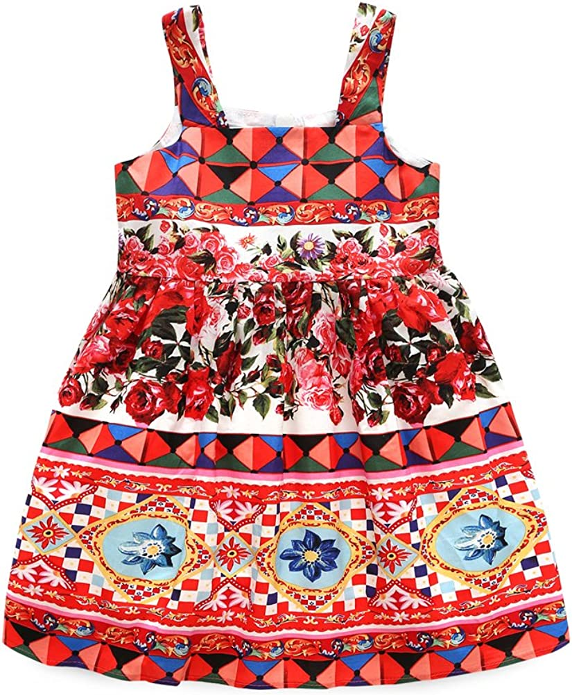 Kimocat Baby Girls Flower Printed Sleeveless Skirt Dress Summer Outfits