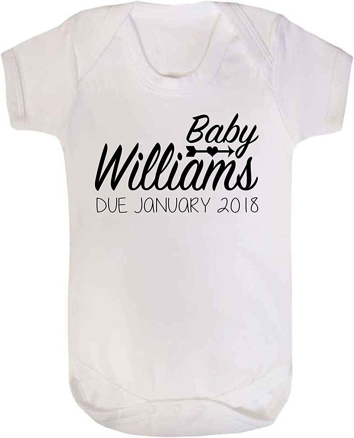 Custom baby surname pregnancy reveal bodysuit due date baby announcement romper announcement shirt baby personalized gift gender reveal