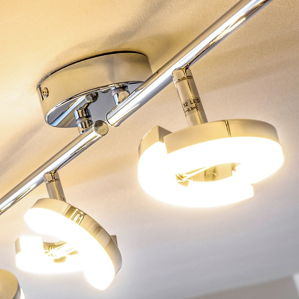 Barra de cuatro aros LED de metal cromo