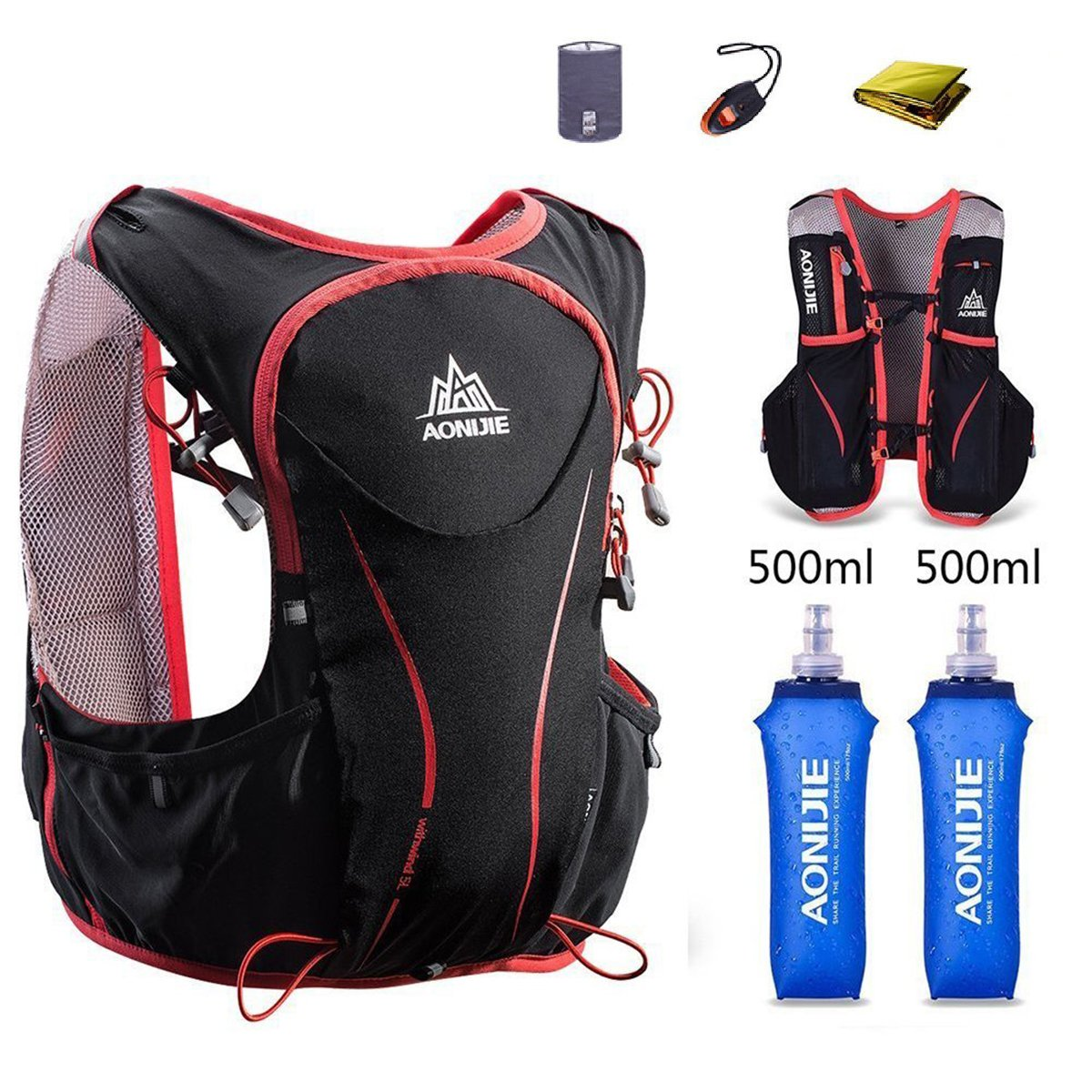 AONIJIE Hydration Pack Backpack Deluxe Lightweight 5L Outdoors Hydration Vest for Marathon Trail Running Race Hiking Camping Cycling (Black+ 2x500ml Water Bottle, S/M)