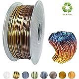 Kehuashina Silk Pla Filament for 3D Printer and Pens, Multi Color, Rainbow Like, 1kg Gradually Changing Multicolor Spool - 1.75mm Diameter Filament