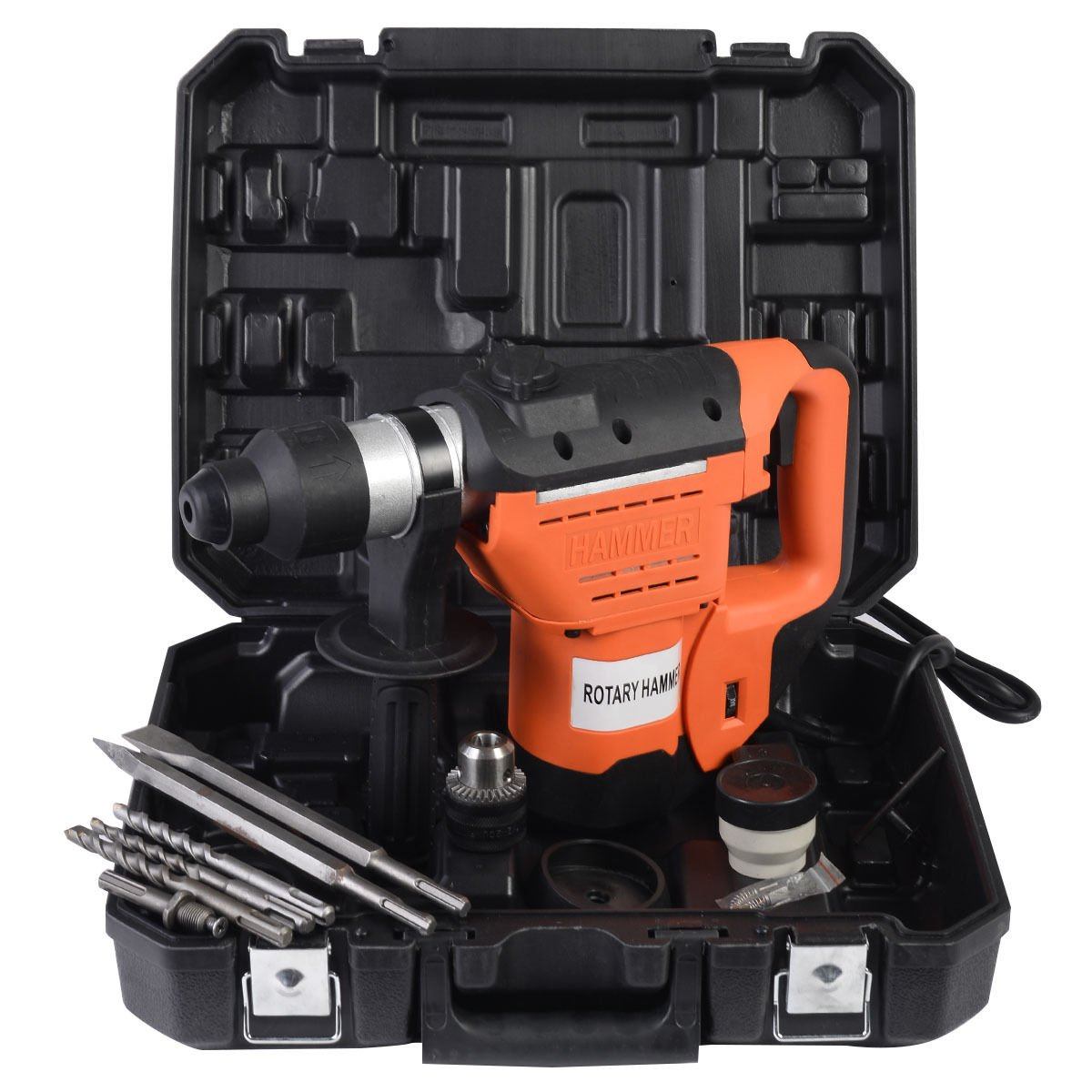 1 1/2'' SDS Electric Rotary Hammer Drill Plus Demolition Variable Speed with Bits and Case by Jikkolumlukka