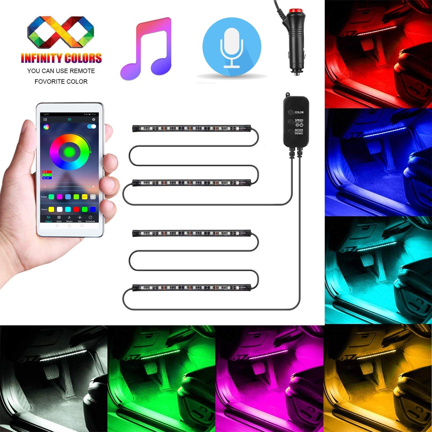Easy change any color 2020 New Waterproof 4pcs 48 LED Underdash Lighting Kit with Color Knob Airgoo RGB Car LED Strip Light Music Car Interior Lights Smart Control Adjust Speed and Mic sensitivity