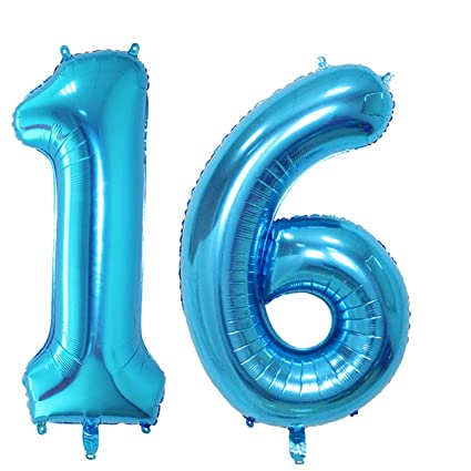 Number 16 Blue Foil 40inch Jumbo Digital Balloons 16th Birthday Decoration For Boys Sweet