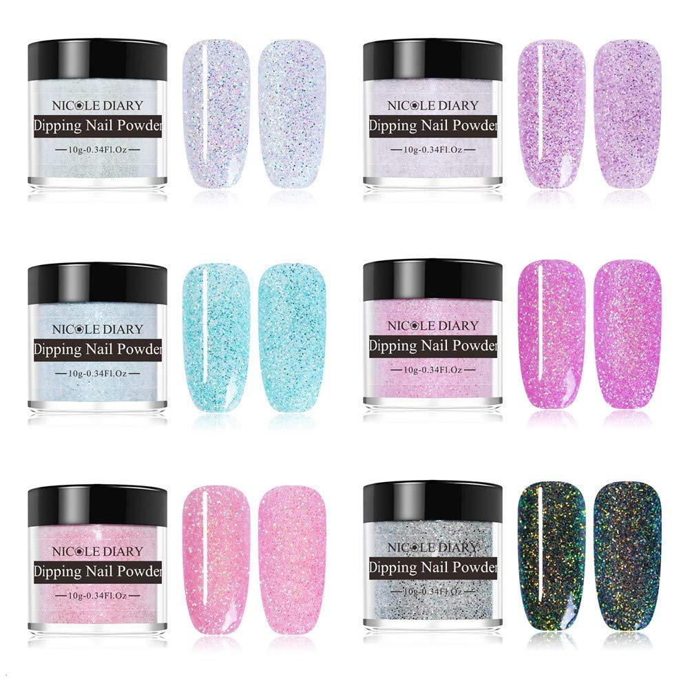 NICOLE DIARY Dipping Nail Powder Set Holographic Chameleon Shimmer Acrylic Nail Powder Without Lamp Cure Natural Dry Nail Glitter Long Lasting Nail Art Decoration 10g(6 Boxes) by NICOLE DIARY