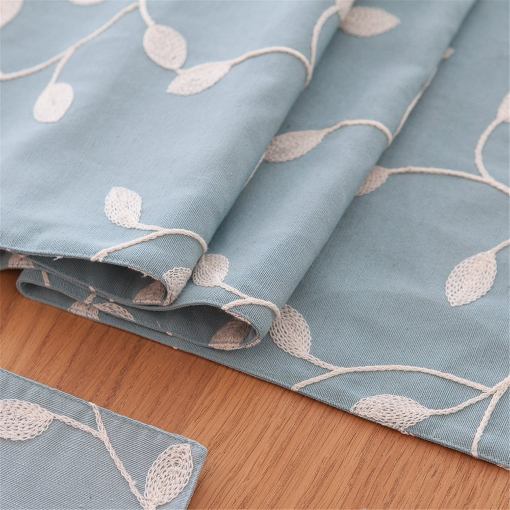4pcs Placemats: 12.5 x 17.7, light blue JYQ Country Rustic Embroidered Cotton Place Mats