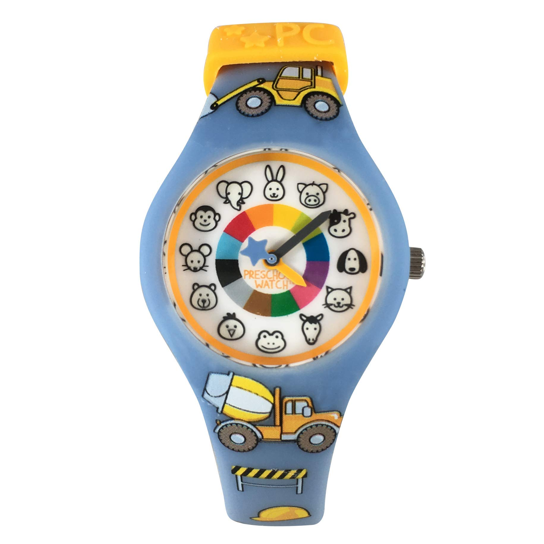 Trucks Preschool Watch - The Only Analog Kids Watch Preschoolers Understand! Quality Teaching time Silicone Watch with Glow-in-The-Dark Dial & Japan Movement by PRESCHOOL COLLECTION