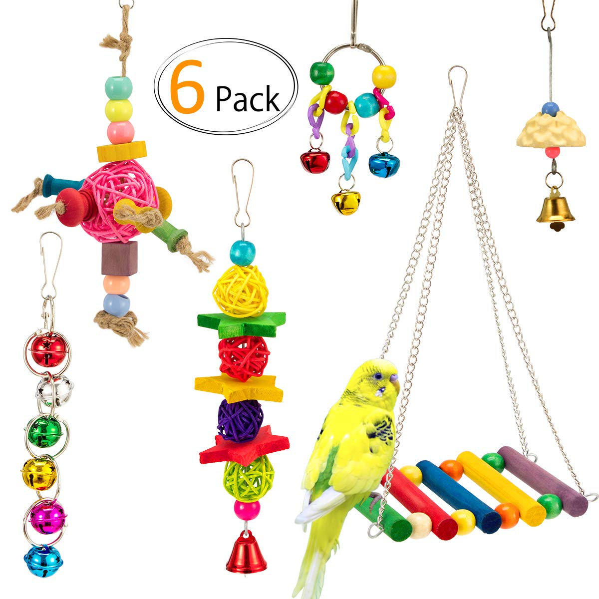 MEWTOGO 6 PCS Bird Toys - Bird Swing+Hanging Bells+Small Rattan Balls+Parrot Chewing Toy+Bird Beak Grinding Stone for Parakeets,Cockatiels,Conures and Lovebirds