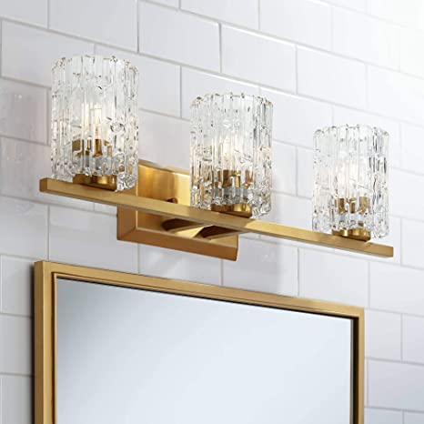 Dyer Modern Wall Light Warm Brass Hardwired 25 Wide 3 Light Fixture Textured Ice Glass For Bathroom Vanity Mirror Possini Euro Design Amazon Com
