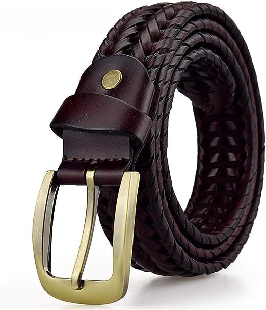 Availcx Cinturón trenzado para hombre Cinturones tejidos Lujo genuino correas de cuero tejidas a mano hombres del diseñador para los pantalones vaqueros masculinos: Amazon.es: Ropa y accesorios
