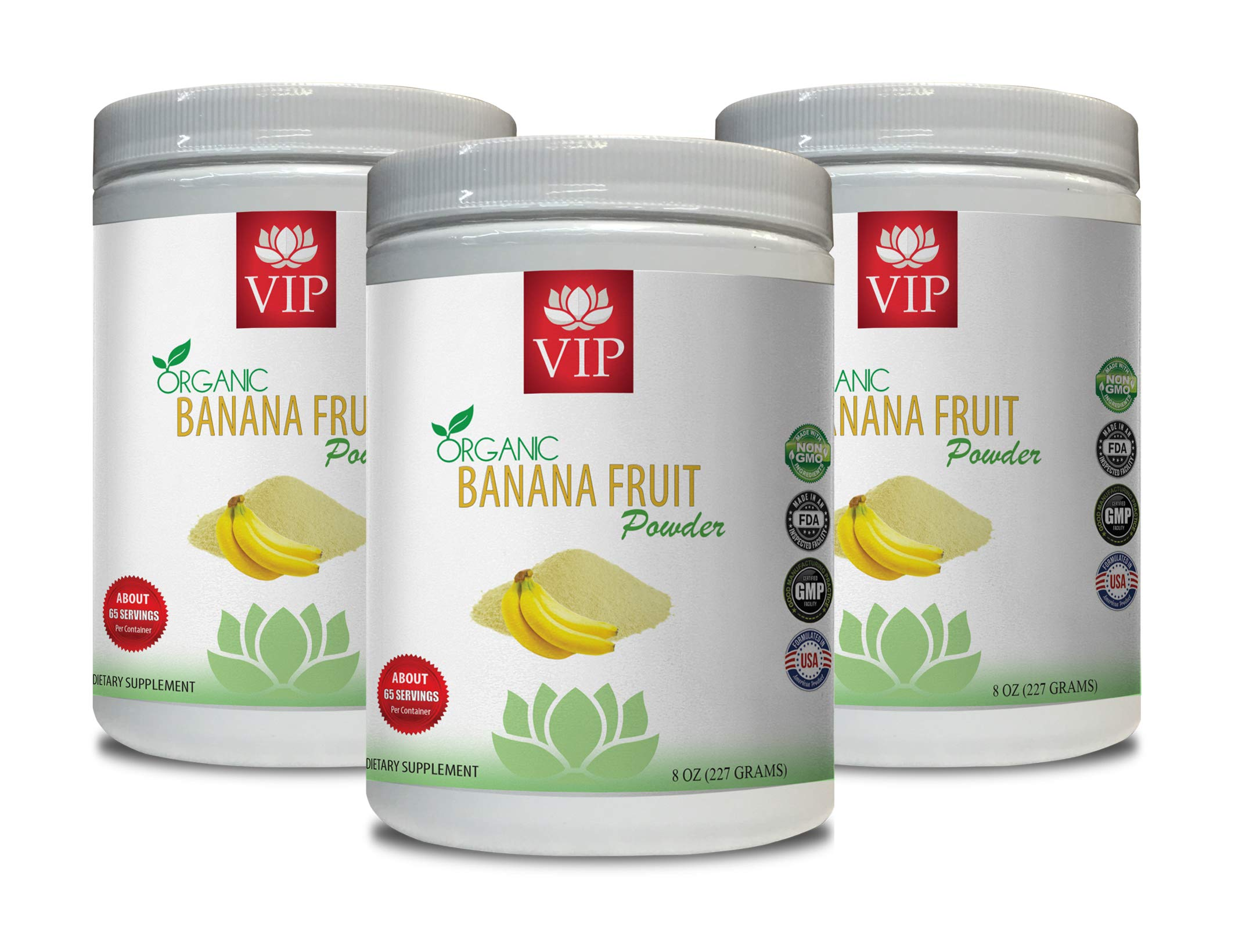 Blood Pressure Vitamin Supplements - Banana Fruit Organic Powder - Digestive Wellness - 3 Cans 24 OZ (195 Servings)