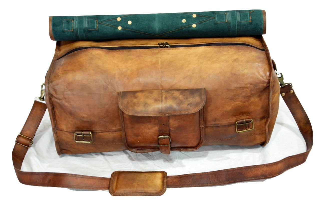 Urban Dezire Leather Duffel Travel Gym Overnight Weekend Leather Bag Sports Cabin by Urban Dezire (Image #4)