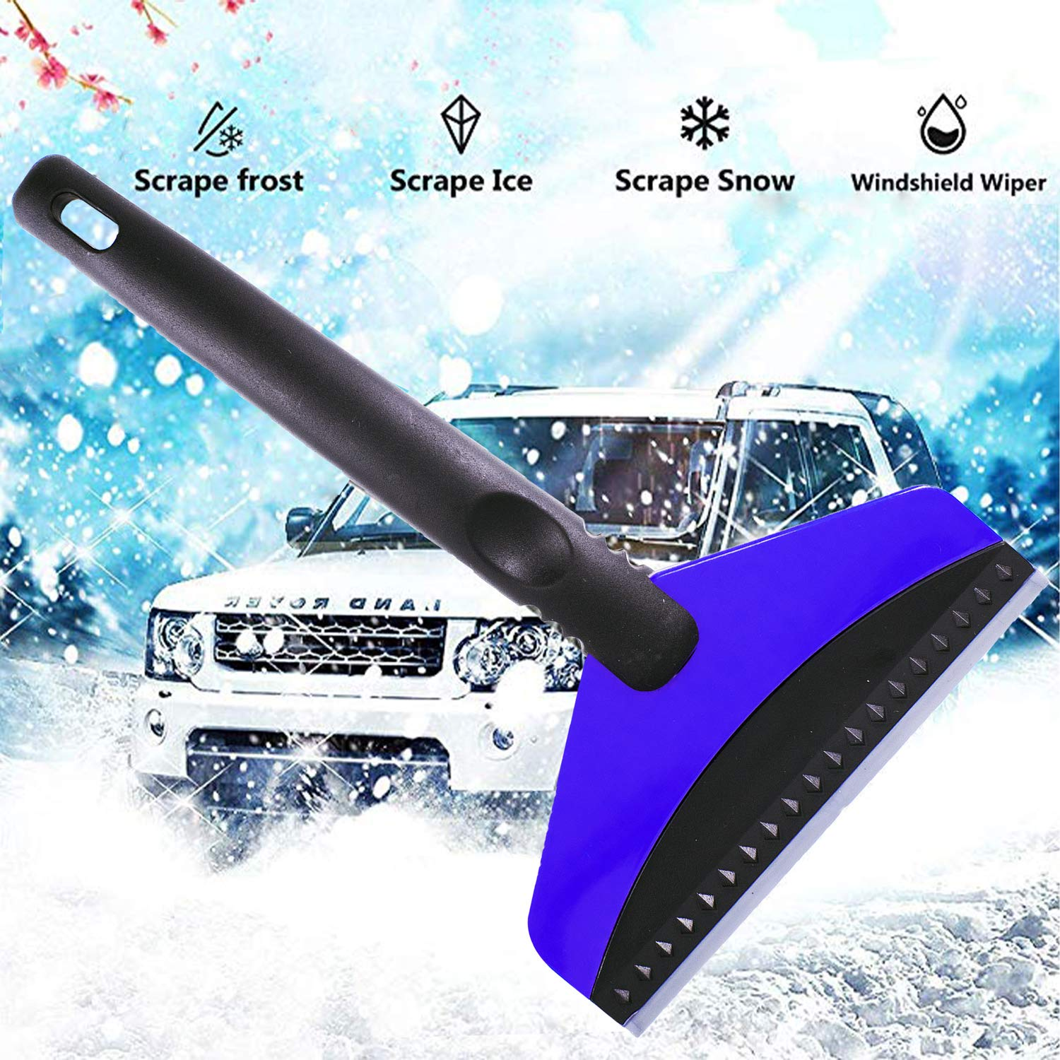 Trucks Premium Ice Scraper for Car Windshield and Windows Heavy-Duty Frost and Snow Removal for Cars Blue