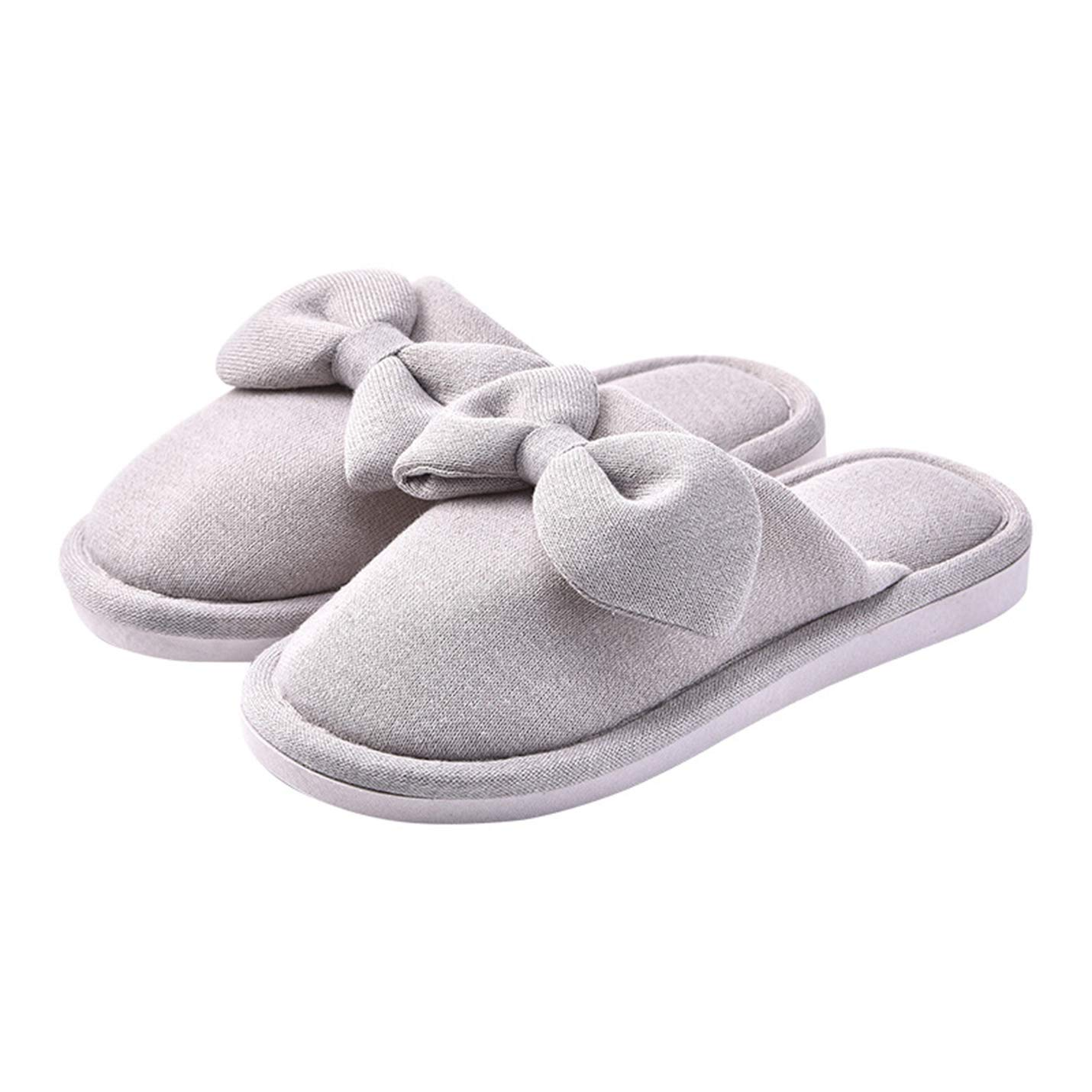 Gihuo Womens Padded Terry Cloth Bowknot Cotton Slip on House Slipper