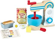 Melissa & Doug Wooden Make-a-Cake Mixer Set (Kitchen Toy, Numbered Turning Dials, Encourages Creative Thinking, 11-Piece Set,