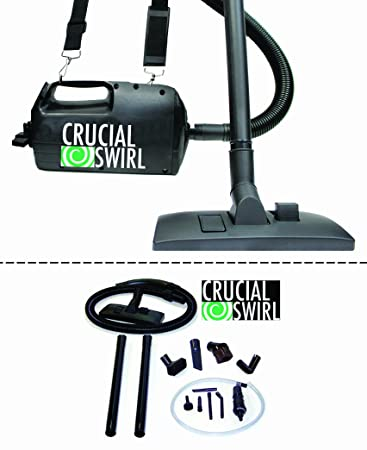 Crucial Swirl Powerful Handheld Portable Vacuum Cleaner, Includes Deluxe Cleaning Attachments Micro Cleaning Attachment Set, Only 4.5lbs has Blower Function Too, Perfect for Car detailing, Designed and Engineered by Crucial Vacuum – Corded
