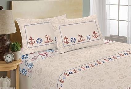 Lenzuola Matrimoniali Con Disegni Marini.Completo Lenzuola 100 Cotone Disegno Sea Marinaro Timone Ancora Mare Blu Rosso Matrimoniale