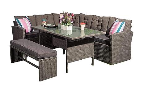 Fabulous Yakoe R8Csd11R Ntx Outdoors Rattan Corner Garden Furniture Sofa 8 Seater With Bench Dining Set Dark Grey With Furniture Cover Creativecarmelina Interior Chair Design Creativecarmelinacom