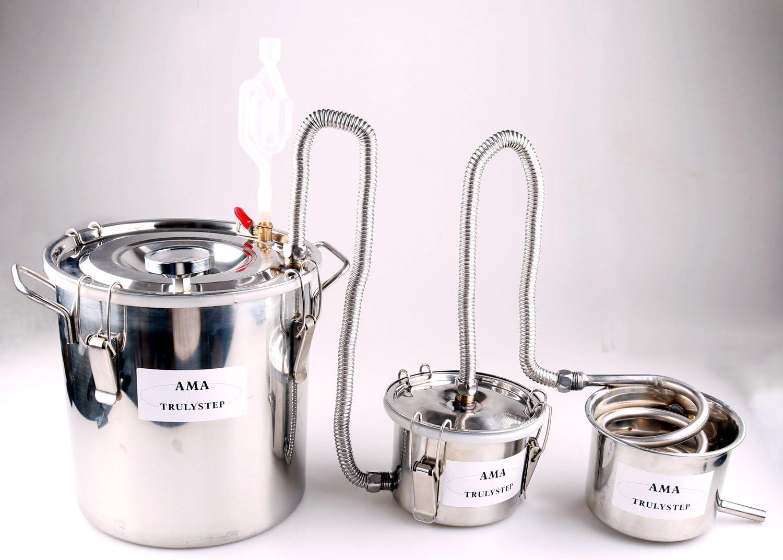 100L Kit de destilación de acero inoxidable,para la elaboración casera de vino, alcohol, cerveza o destilación de agua,puede ajustar una gran cantidad de gustos