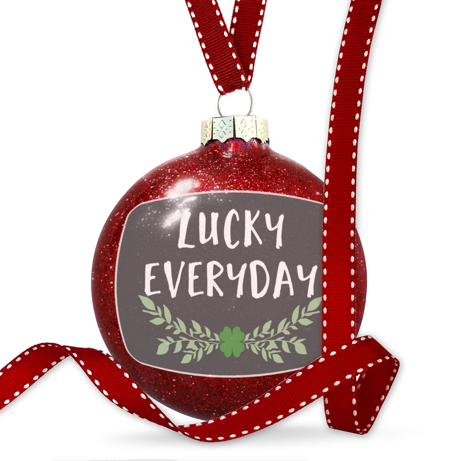 Christmas Decoration Lucky Everyday St. Patrick's Day Green Leaves with Shamrock Ornament