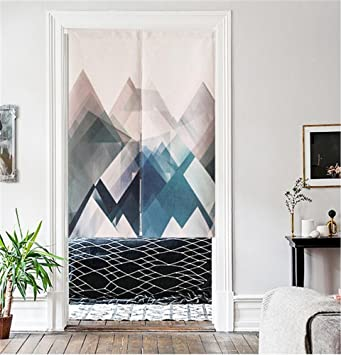 MR FANTASY Cotton Linen Noren Japanese Doorway Curtain Tapestry Modern  Geometric Triangle Mountains Blue, 33x47