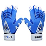 Sportout Kids Junior Goalkeeper Gloves, Soccer Gloves with Double Wrist Protection and Non-Slip Wear Resistant Latex Material to Give Splendid Protection to Prevent Injuries (Blue2, 5)