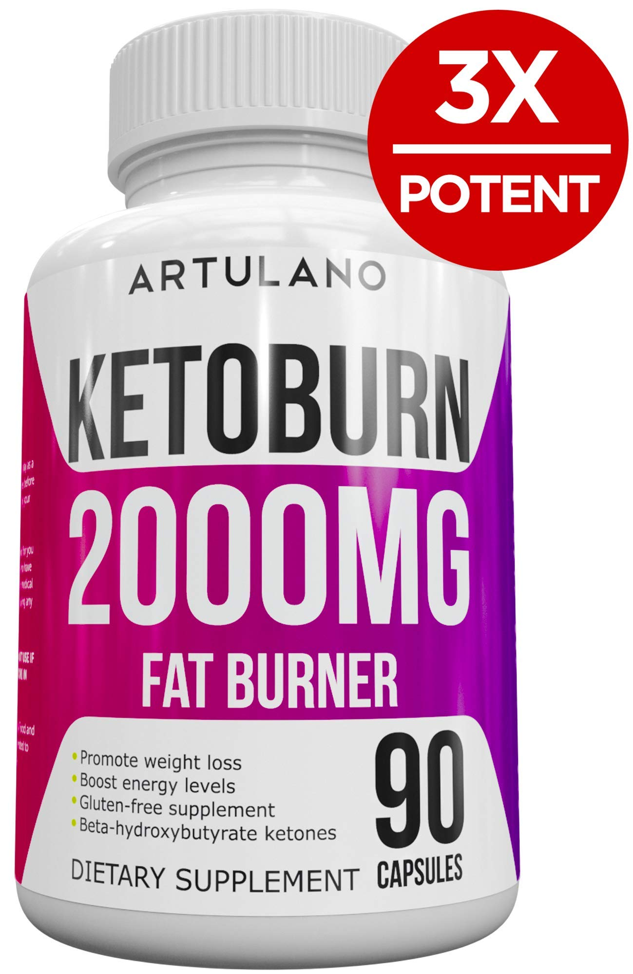 Best Keto Pills - 3X Potent (2000mg | 90 Capsules) - Weight Loss Keto Burn Diet Pills - Boost Energy and Metabolism - Exogenous Keto BHB Supplement for Women and Men - 90 Capsules by Arvesa