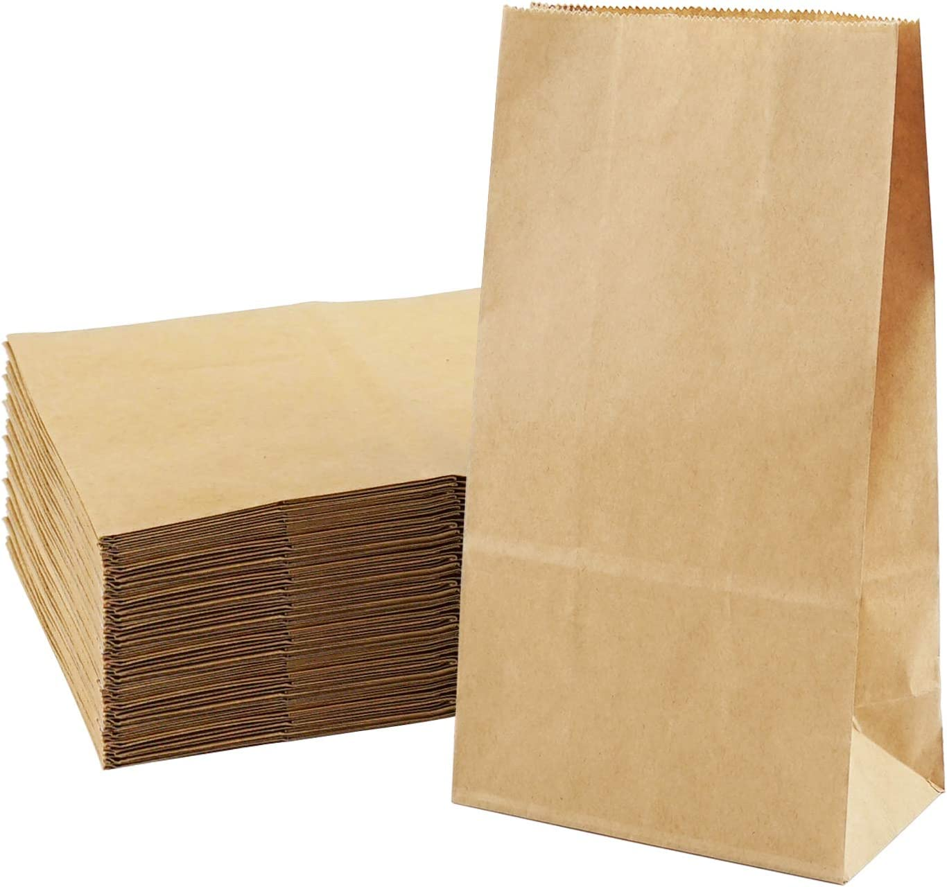Food Paper Bag 100 Pack Brown Kraft Paper Sandwich Bags Recyclable Grocery Bag for Vegetable Fruit Bakery Cookies Snacks Party Favors Small (7.1 x 3.5 x 2 Inch)