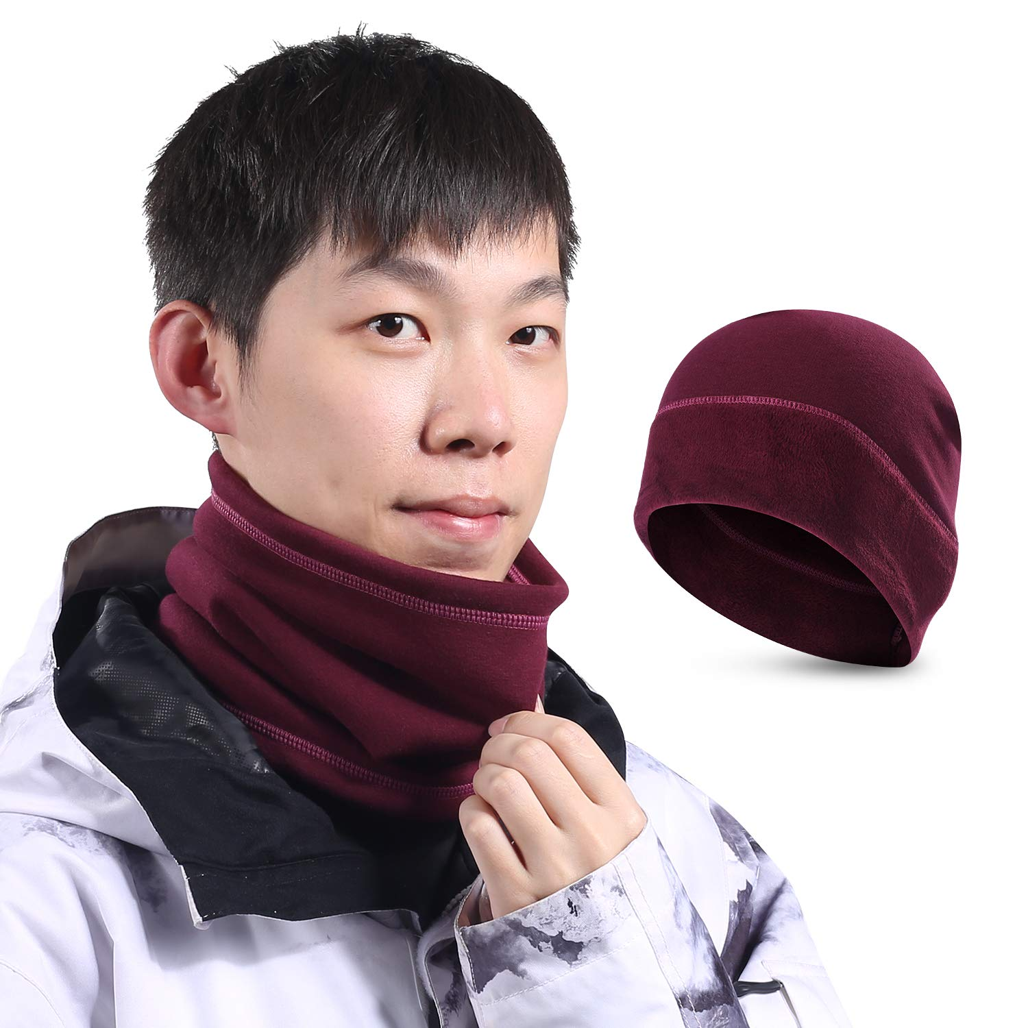 SUNMECI Neck Warmer Gaiter Scarf Beanie Hat Set Warm Fleece Lined Cold Weather Face Mask Skiing & Daily Use Men Women (2 Pieces) Ltd
