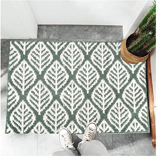 Door Mat Inside – Welcome Mats for Front Door 20 x32 – Cute Indoor Shoe Rug for Entryway Entrance – Absorbent, Non Skid, Thin, Small, Utility, with Rubber Backing – Decorative Modern Green Leaf