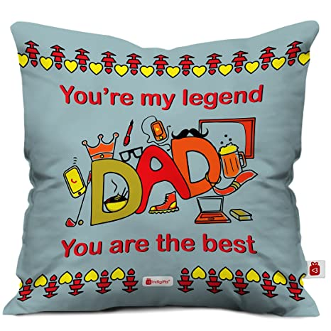 Indigifts Papa Gift Anniversary My Legend Dad Beautiful Cushion Cover 12x12 Inches With Filler Grey