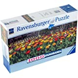 """Ravensburger Perfect Fit Panorama """"TONS OF TULIPS"""" 1000 pc Jigsaw Puzzle"""