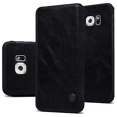 Nillkin Qin - Carcasa tipo funda protectora de cuero / piel antideslizante para Samsung Galaxy S6 Edge Plus - Negro