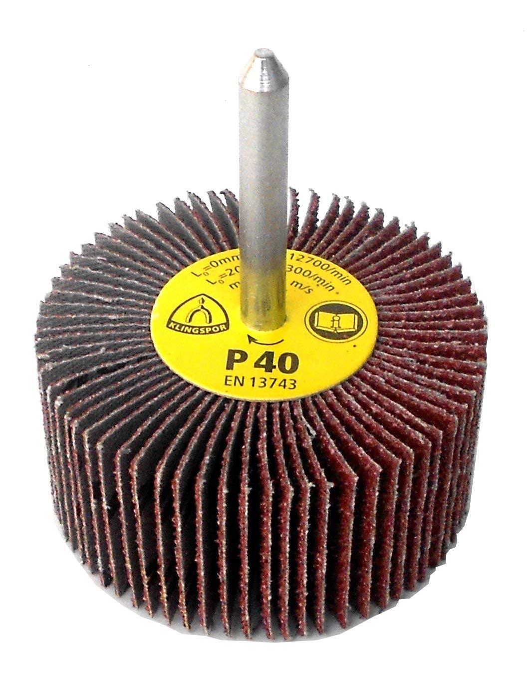 | 5 St/ück K/örnung: 100 Schaftdurchmesser: 6 mm 60 x 30 mm Klingspor KM 613 F/ächerschleifer//Lamellenschleifer