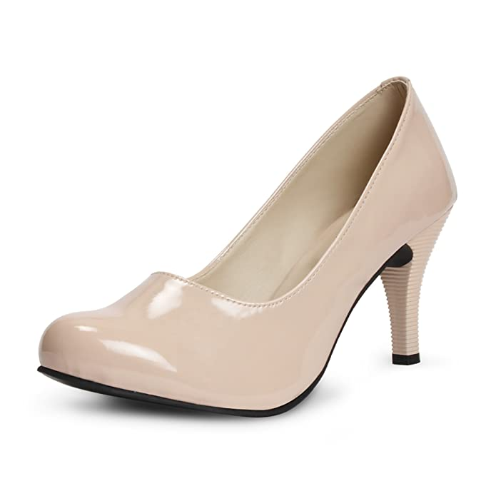 Meriggiare Women Patent Leather Beige Heels <span at amazon