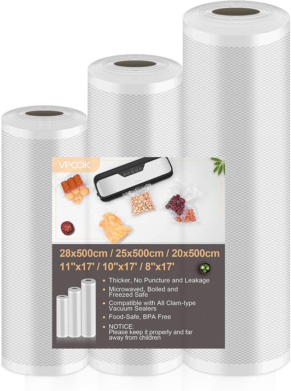 "VPCOK Vacuum Sealer Bags for Food Saver Vacuum Sealer Rolls 8"" x 17', 10"" x 17', 11"" x 17' 3 Pack Vacuum Seal Roll BPA Free Fit Vacuum Sealer Sous Vide Bags Food Storage Bag Roll Vac Storage Meal Prep"
