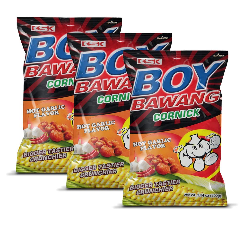 Boy Bawang Cornick, Hot Garlic - Crispy Tasty & Gluten-Free Corn Nuts 3.54 ounces (100g), 3 Pack