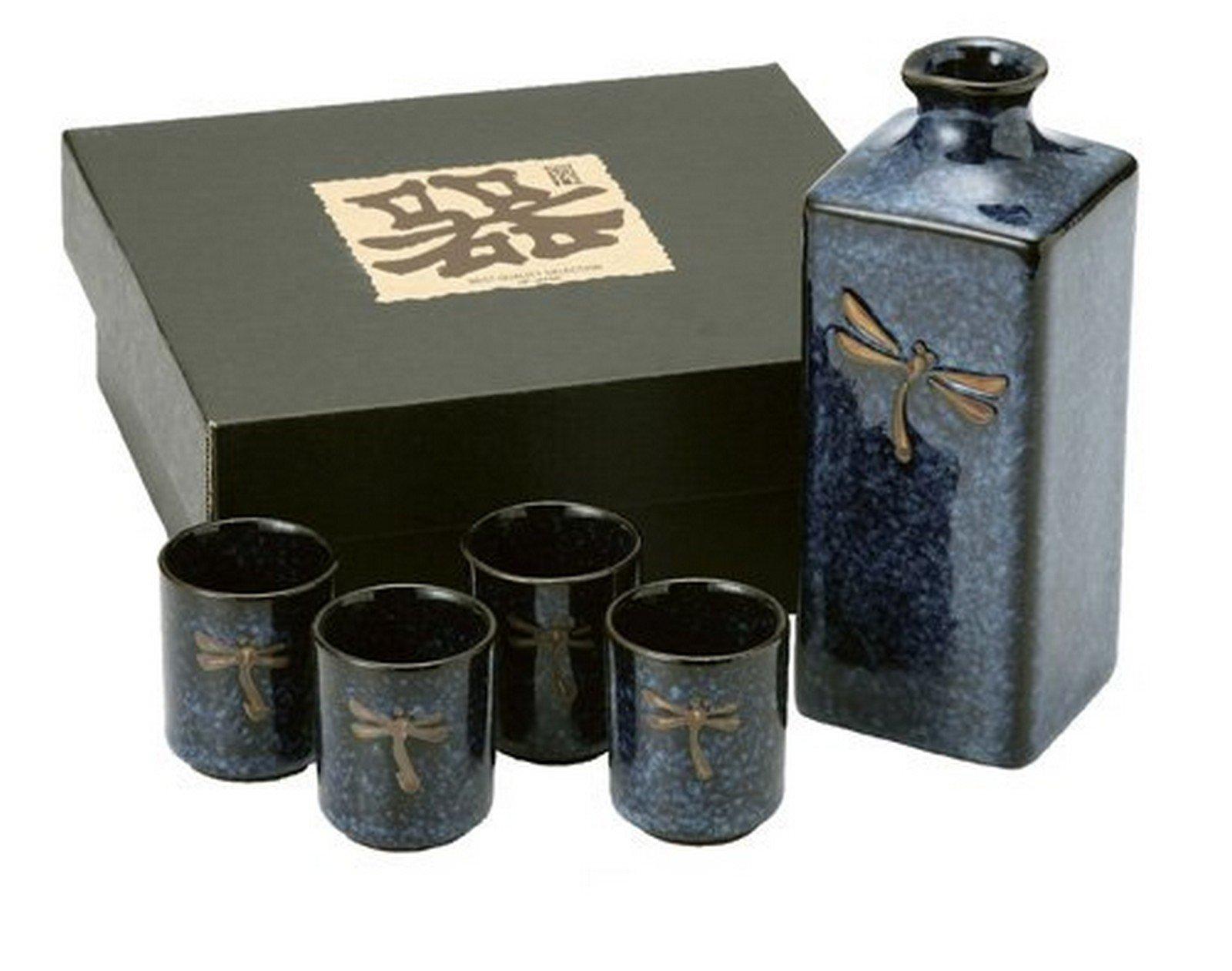 JapanBargain 1697 Dragonfly Sake Set, Navy