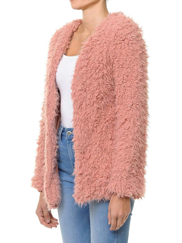 Ijkw051 Mauve Instar Mode Women's Casual Warm Fluffy Faux Fur Oversized Outerwear Jacket Cardigan