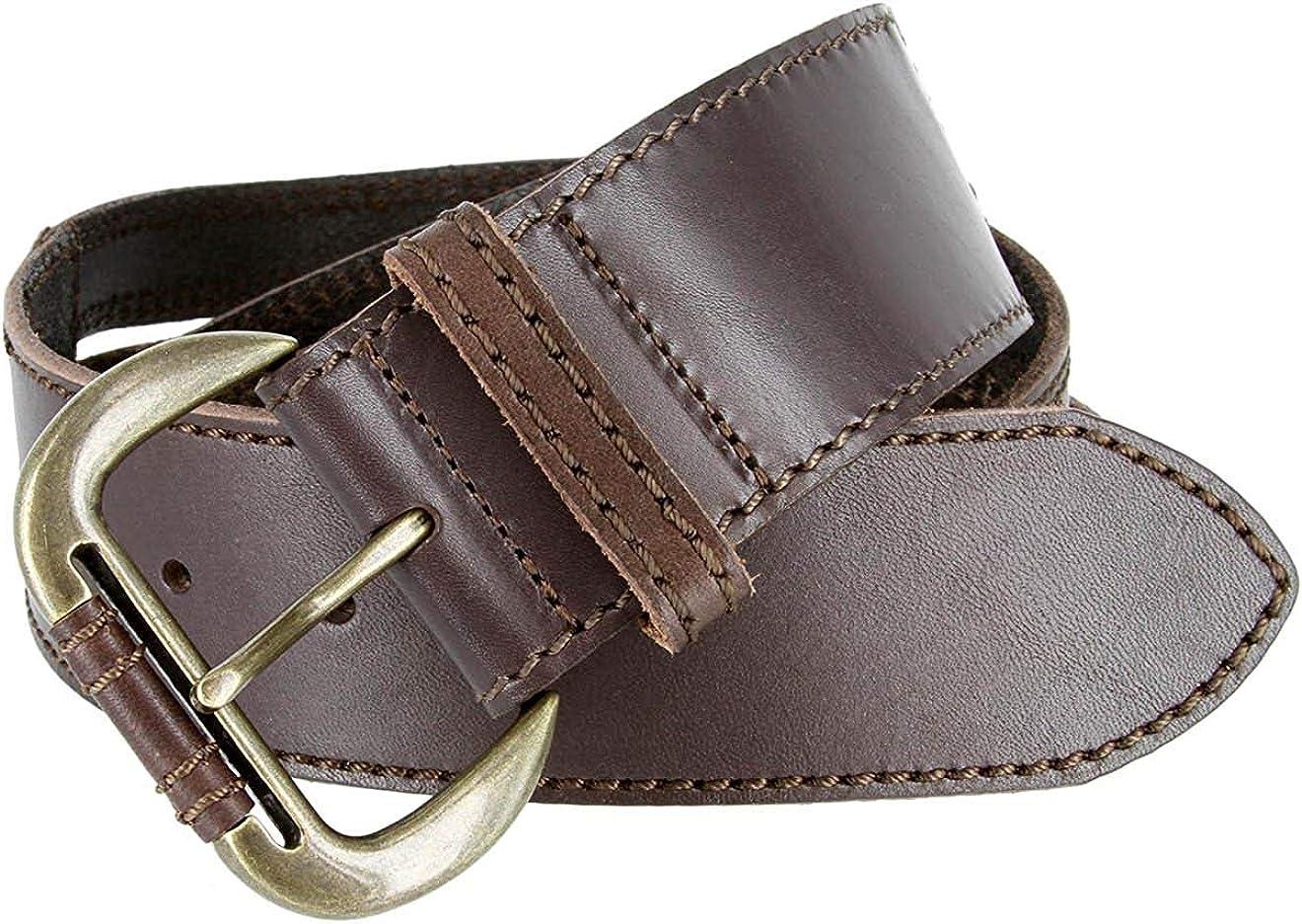 Hagora Women 1-7//8 Wide Solid Leather Split Center Stitched Brass Buckle Belt