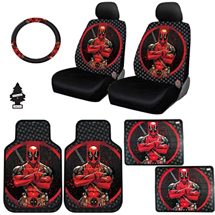 New Design 10 Pieces Marvel Comic Deadpool Car Seat Covers Floor Mats And Steering Wheel Cover